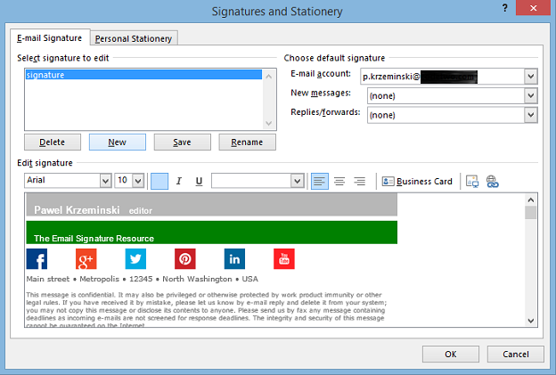 email signature template outlook