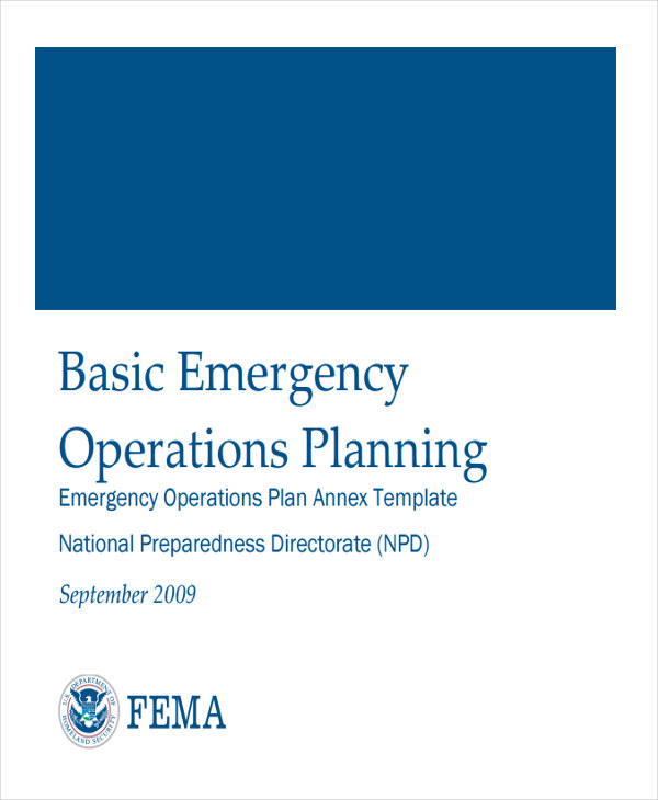 emergency operations plan template