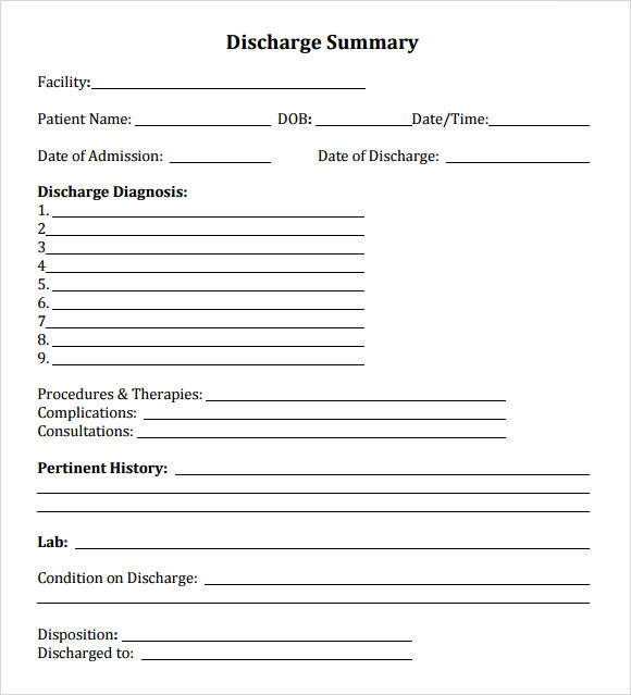 emergency room discharge papers template