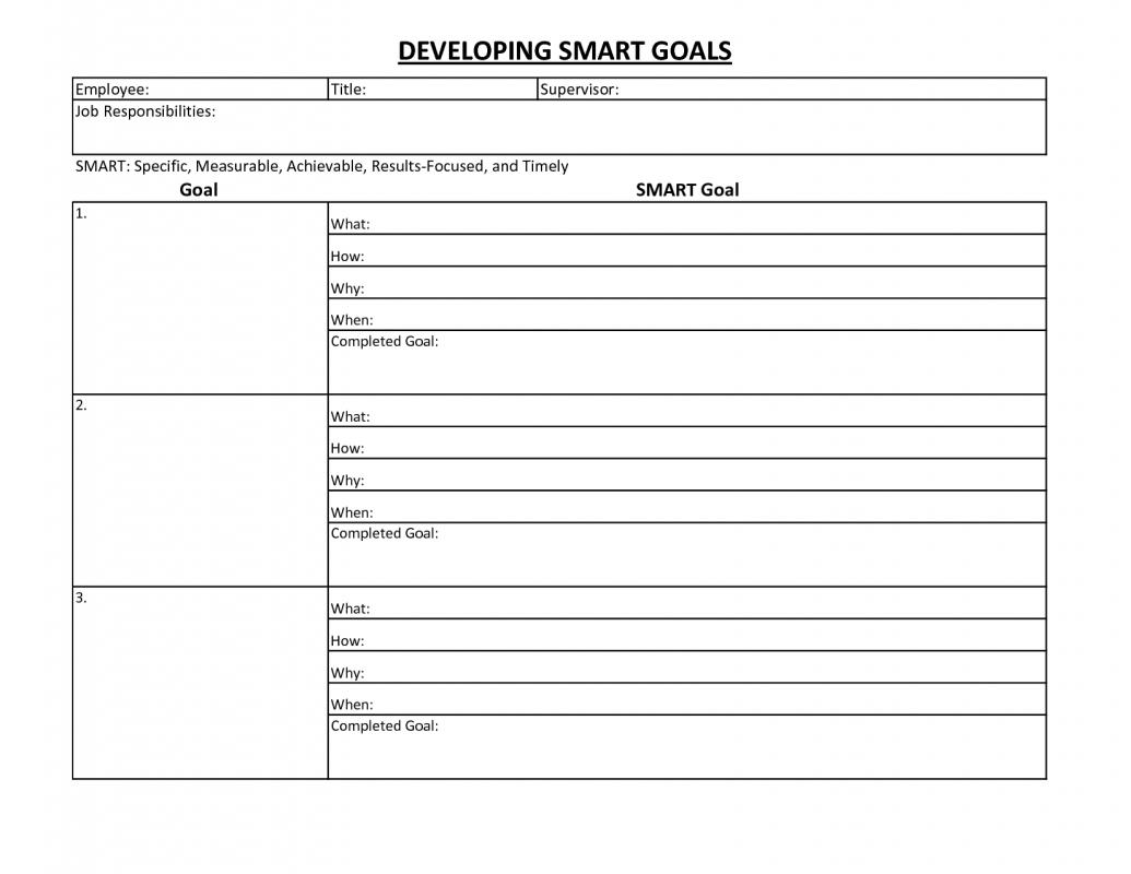Employee goal setting template for Goals and objectives template excel