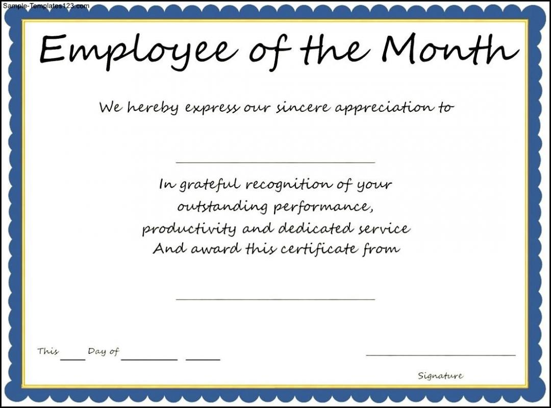 Employee of the month certificate template shatterlionfo employee of the month certificate template yelopaper Image collections