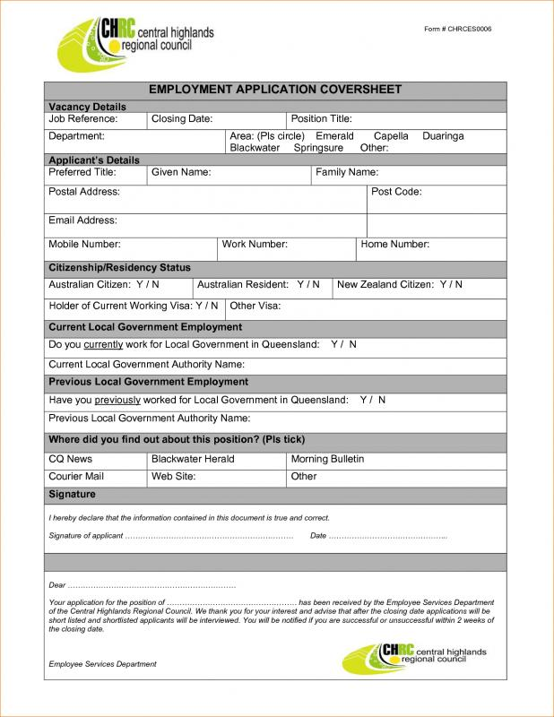 employment application template microsoft word