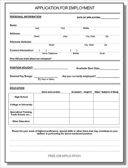 Employment Application Template Microsoft Word Shatterlionfo