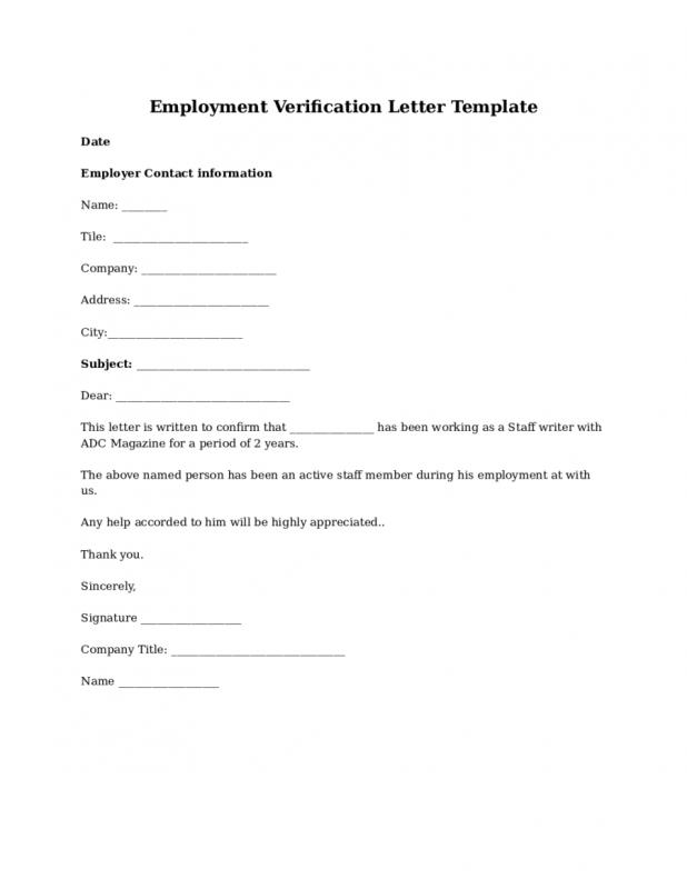 Employment Verification Form Template  Employment Verification Letter Template Word