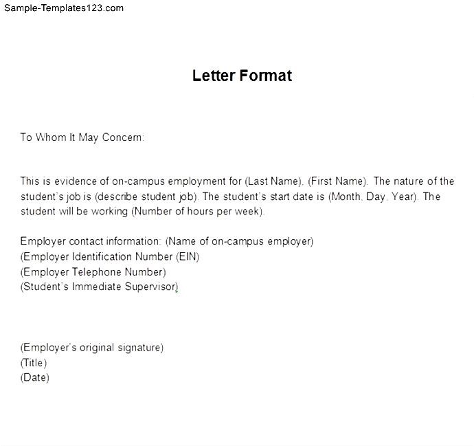 Employment Verification Letter Template  ShatterlionInfo
