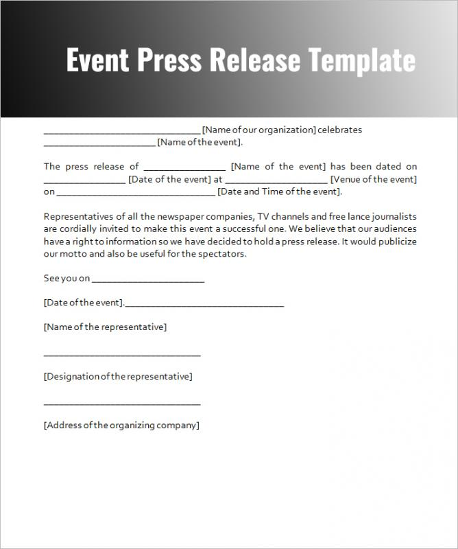 Event press release template for Templates for press releases