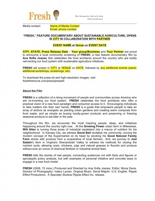 Event press release template for Template of a press release