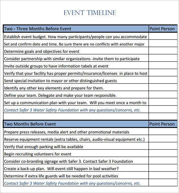 event timeline template