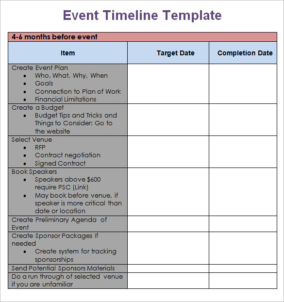 Event Marketing Timeline Template  Best Market