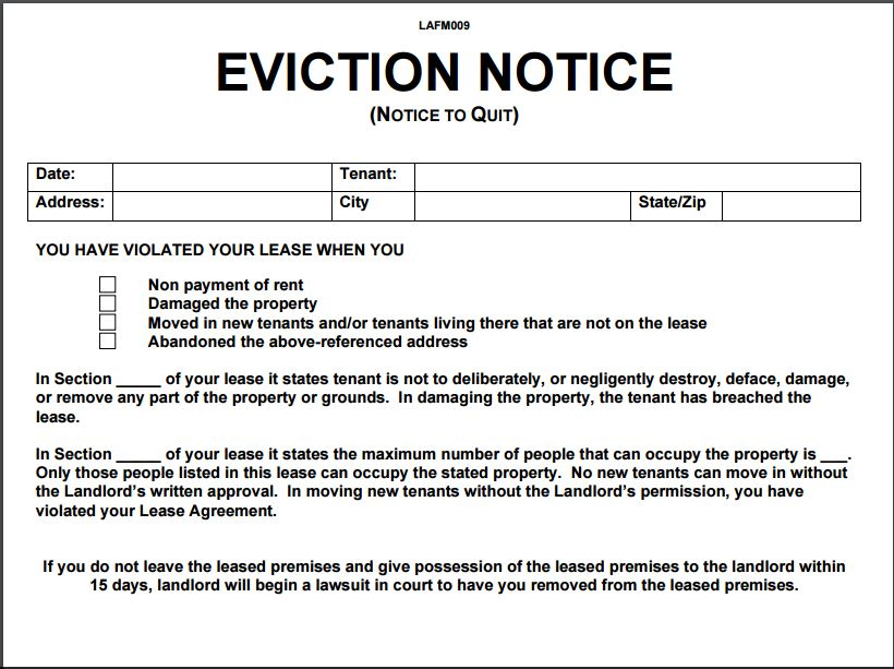 Eviction Letter Templates Eviction Notice Template  Shatterlion