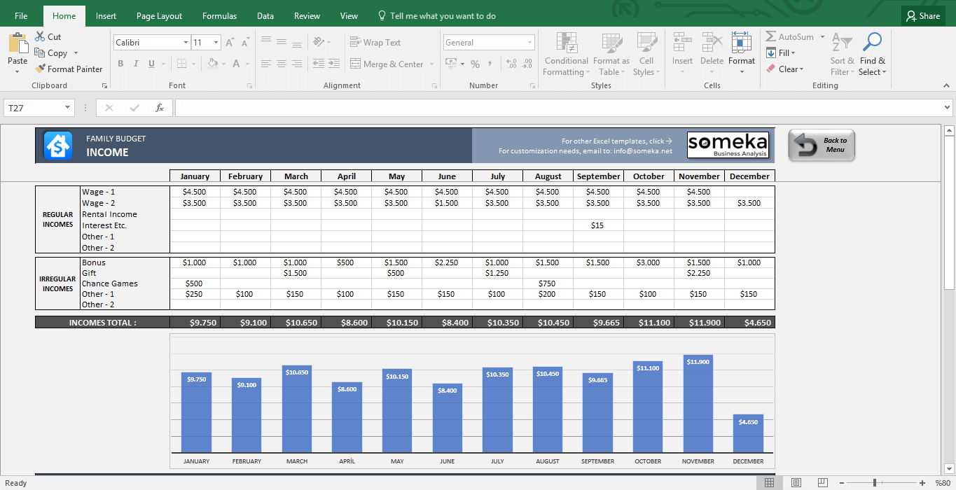 excel family budget template
