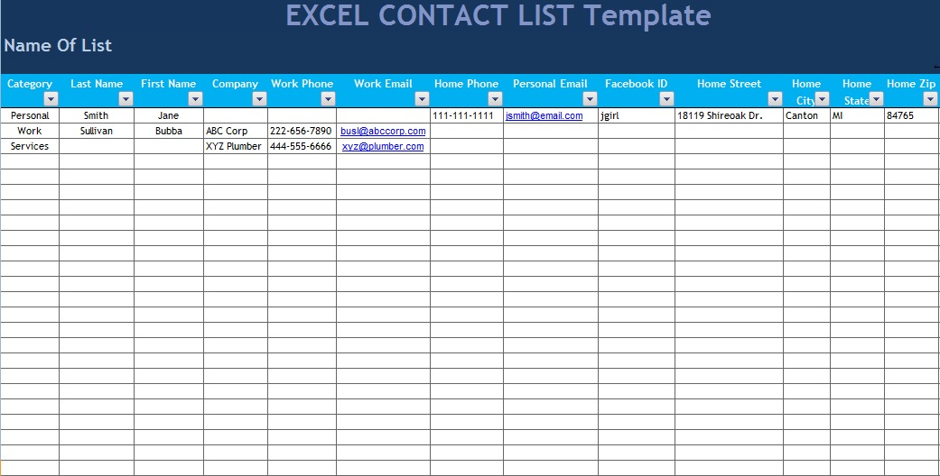 excel list template