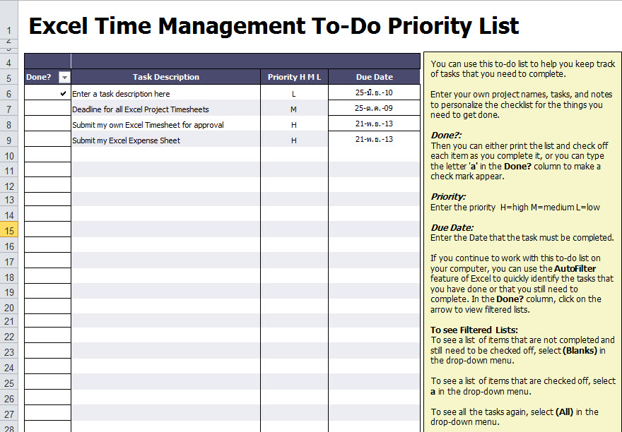 excel to do list template