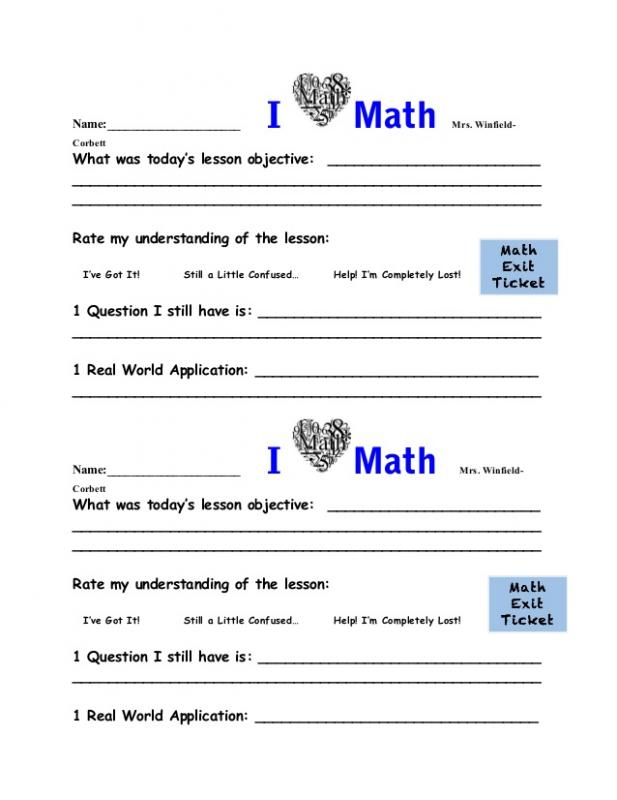 Exit Ticket Template  ShatterlionInfo