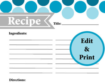 fillable recipe card template