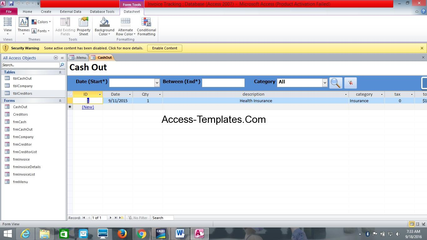 free access database templates