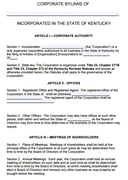 free bylaws template