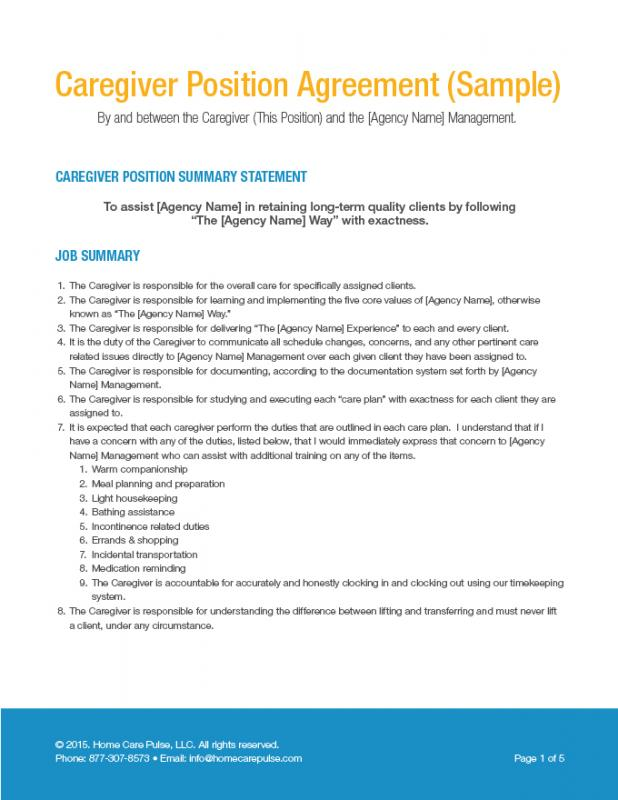 Free caregiver contract template for Free caregiver contract template