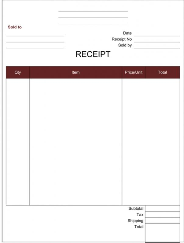 free cash receipt template