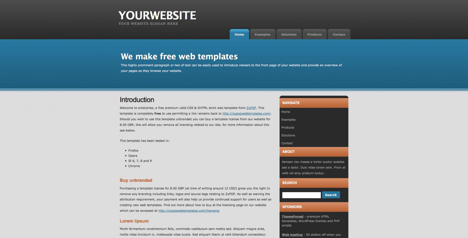 free css website templates
