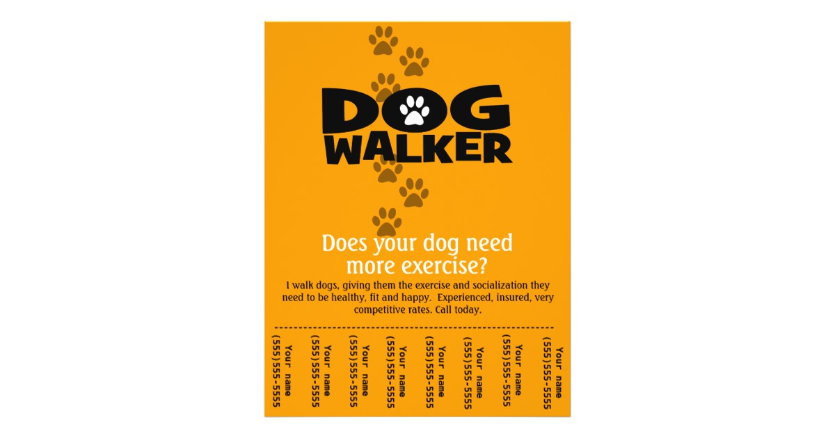 Free Dog Walking Flyer Template Shatterlionfo