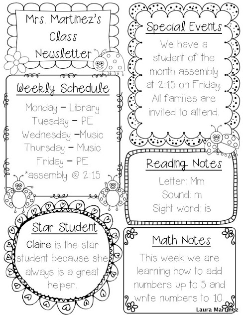 free downloadable newsletter templates for teachers