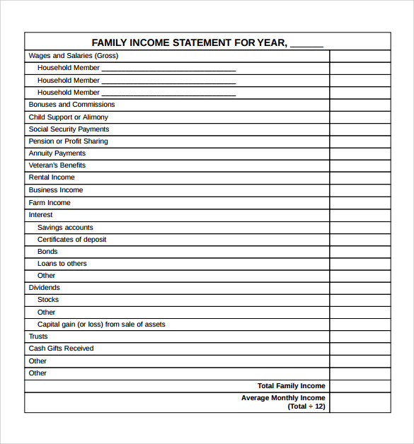 free financial statement template