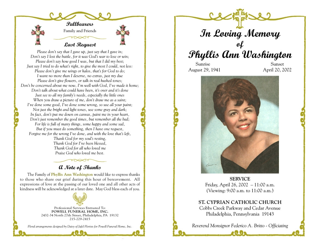 free funeral templates