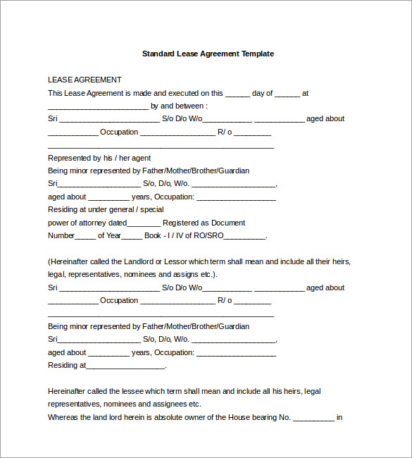 free lease agreement template word