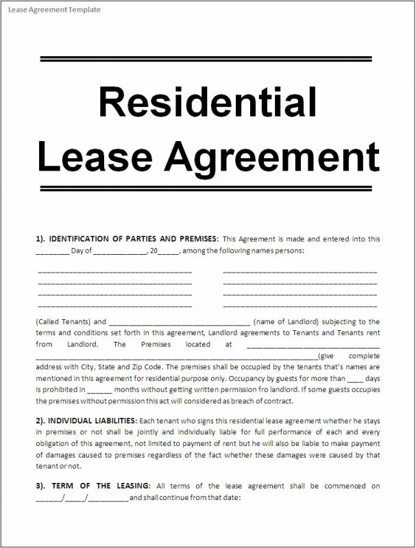 free lease template