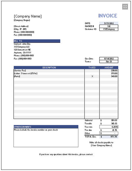 free online invoice template