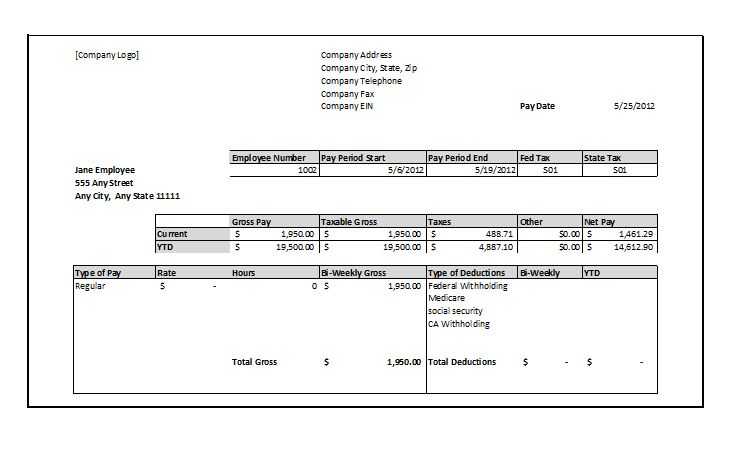 Free Pay Stub Template | shatterlion.info