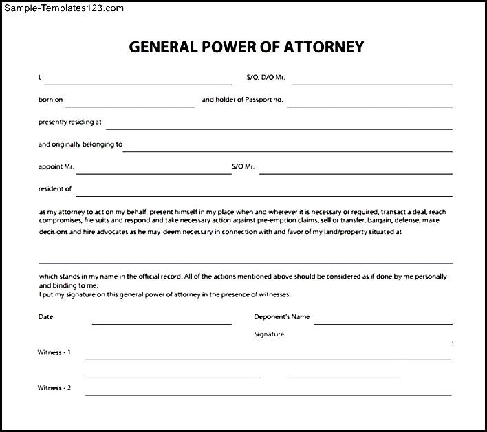 free power of attorney template
