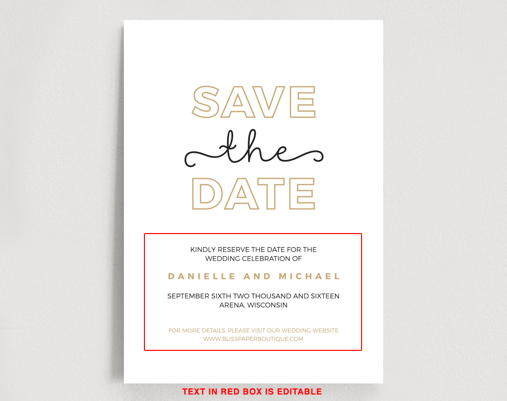 Save the date online template in Brisbane