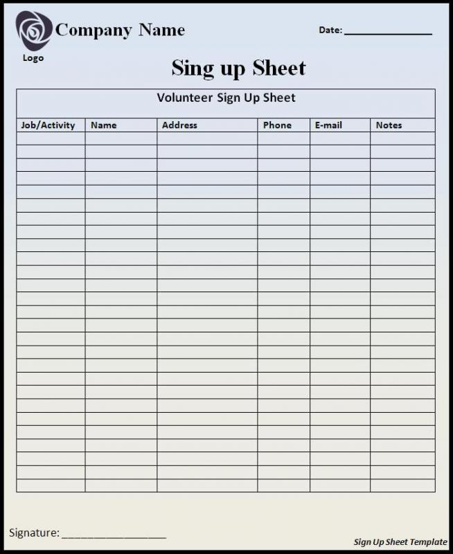 free sign up sheet template