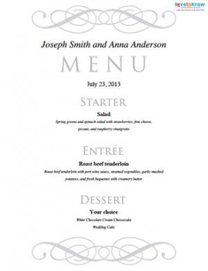 free wedding menu templates
