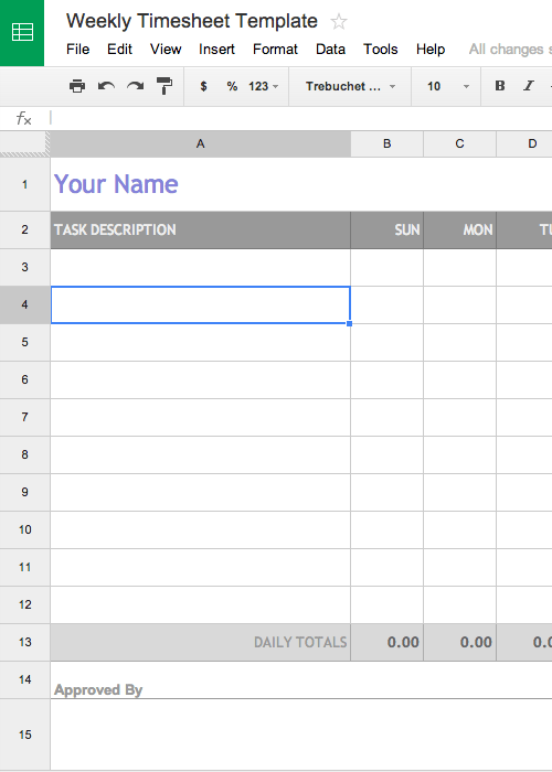 free weekly timesheet template