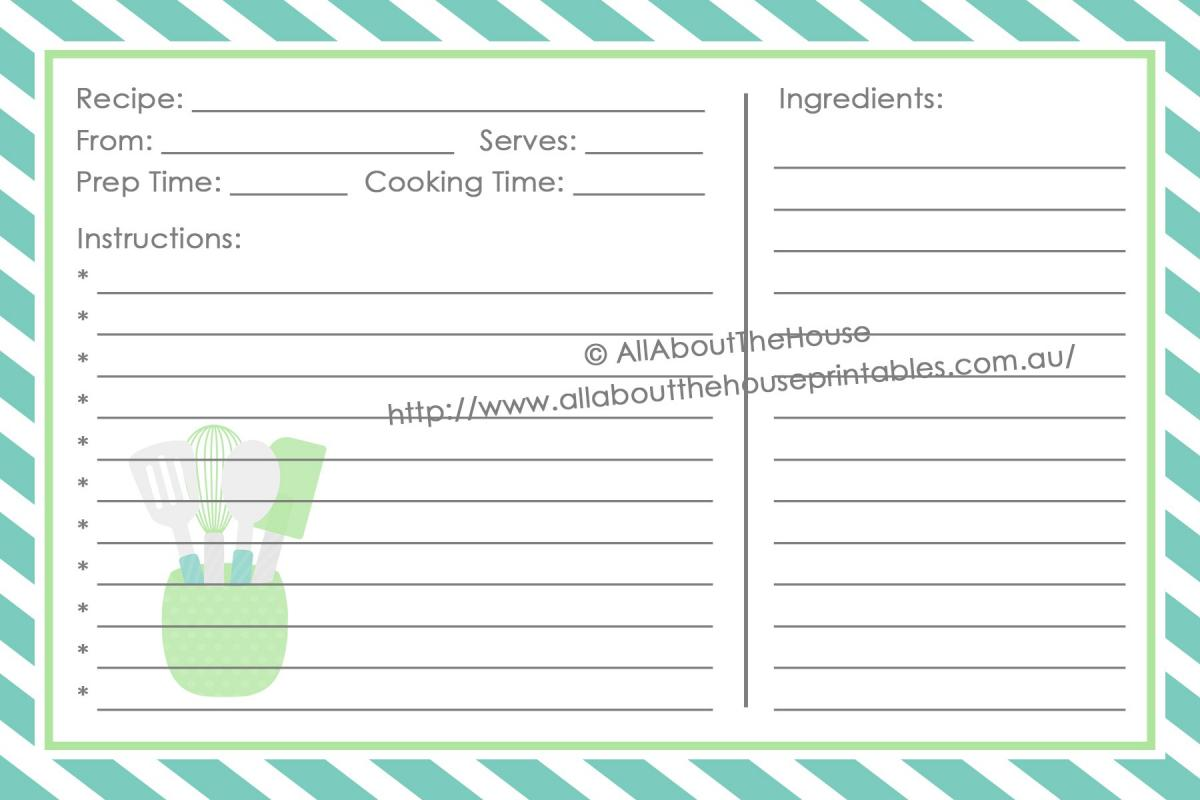 Full page recipe template for word for Full page recipe template for word
