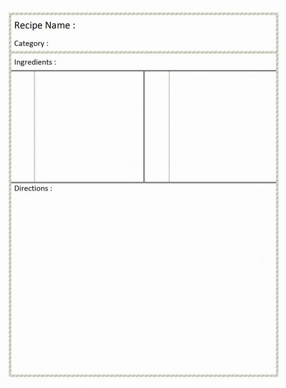 Full page recipe template for word for Template for recipes in word