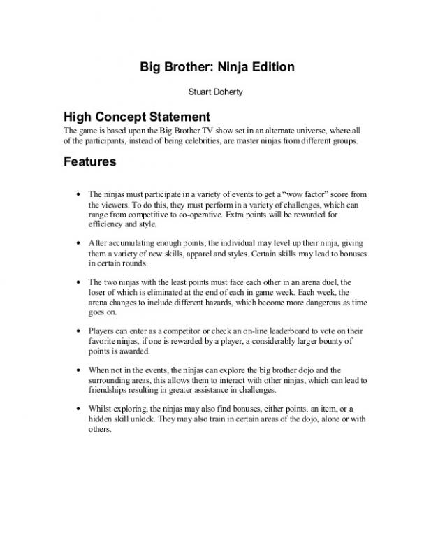 game design document template