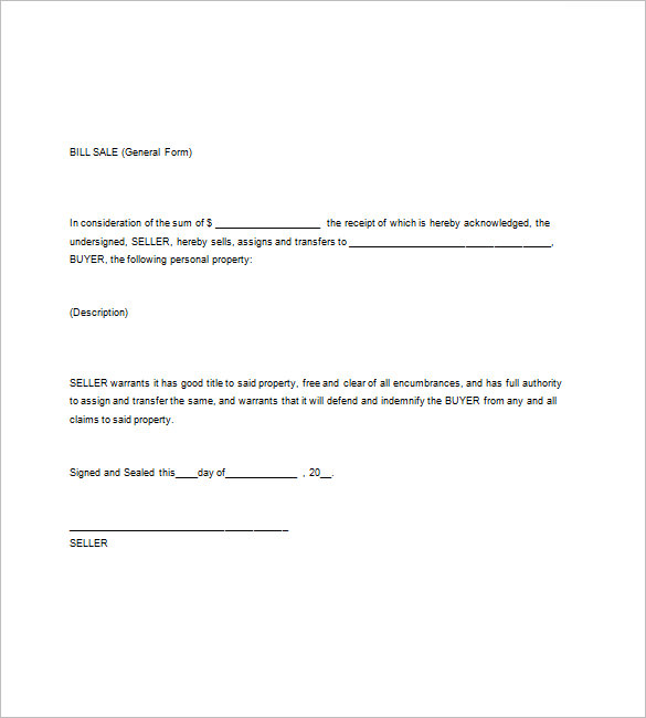 general bill of sale template word