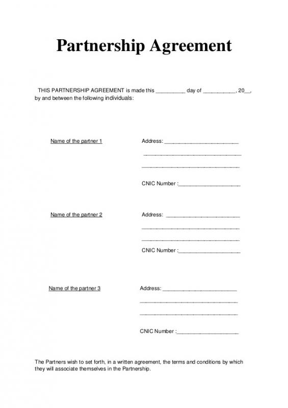articles of partnership template - general partnership agreement template