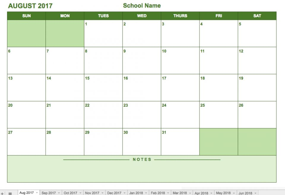 google sheets calendar template