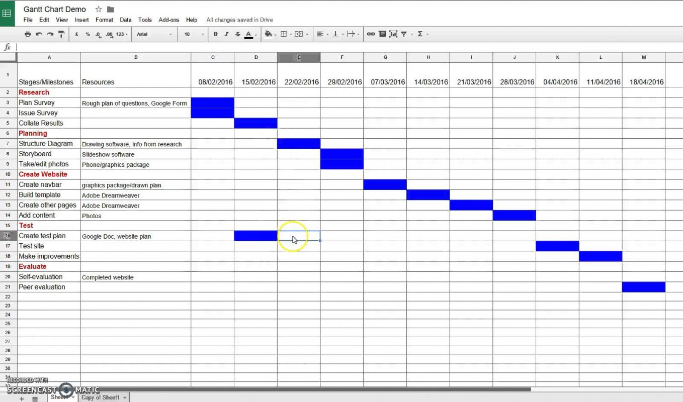 google sheets gantt chart template
