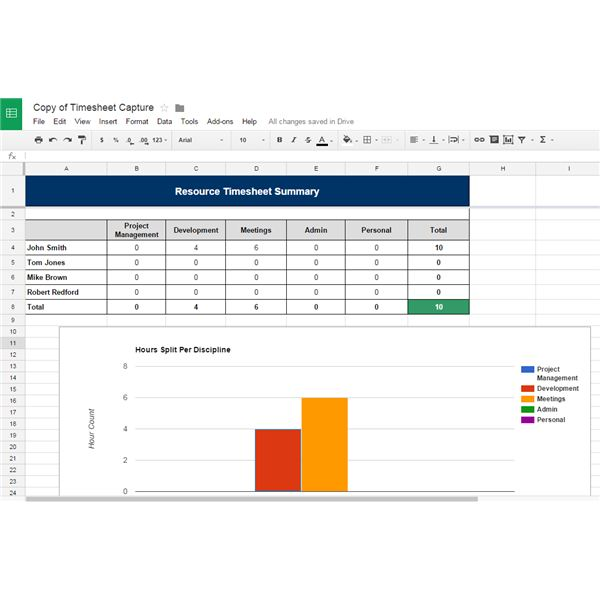 google sheets project management template