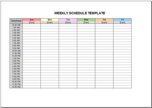 google sheets schedule template