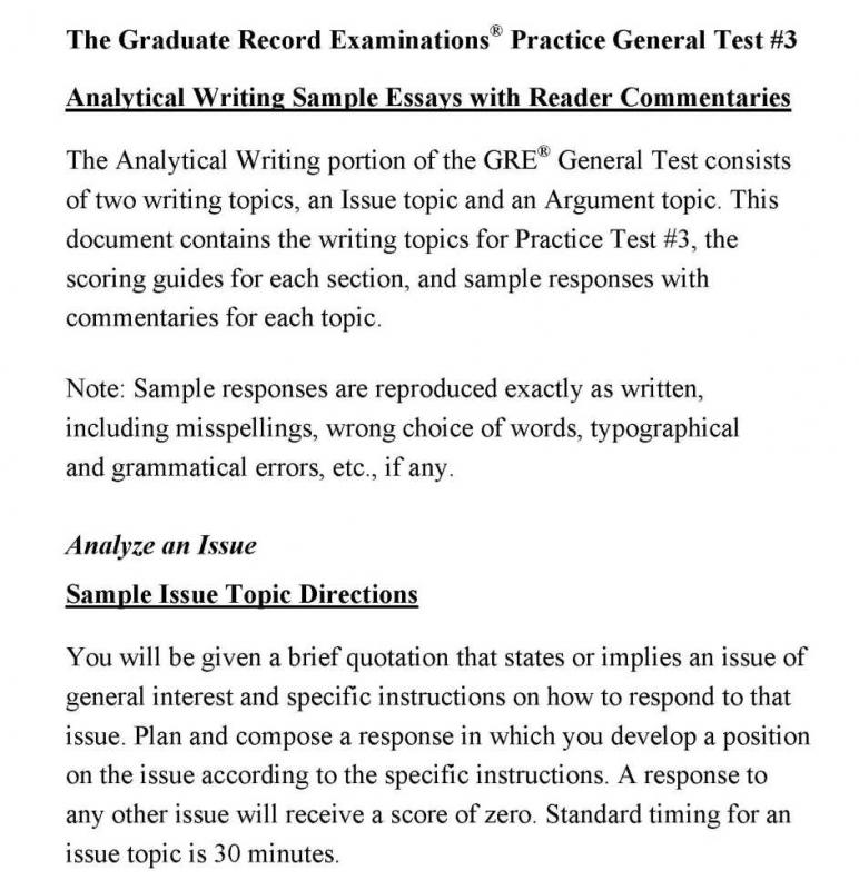 Sample gre issue essay questions