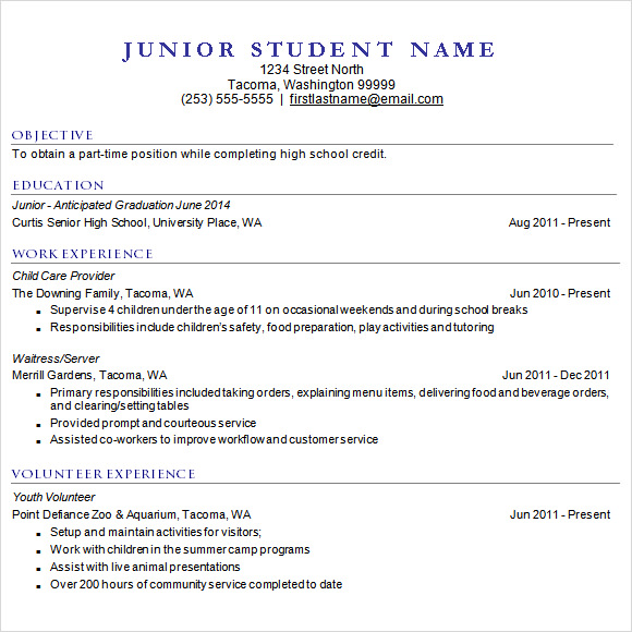 High School Resume Template For Utility College Application