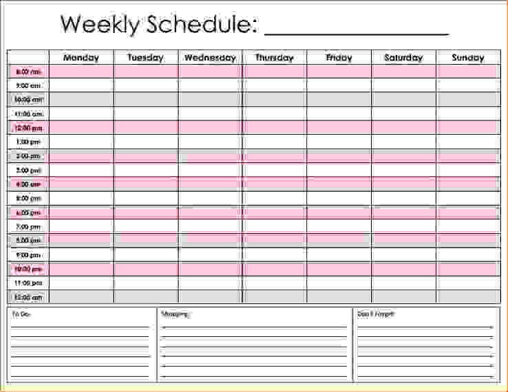 hourly schedule template excel