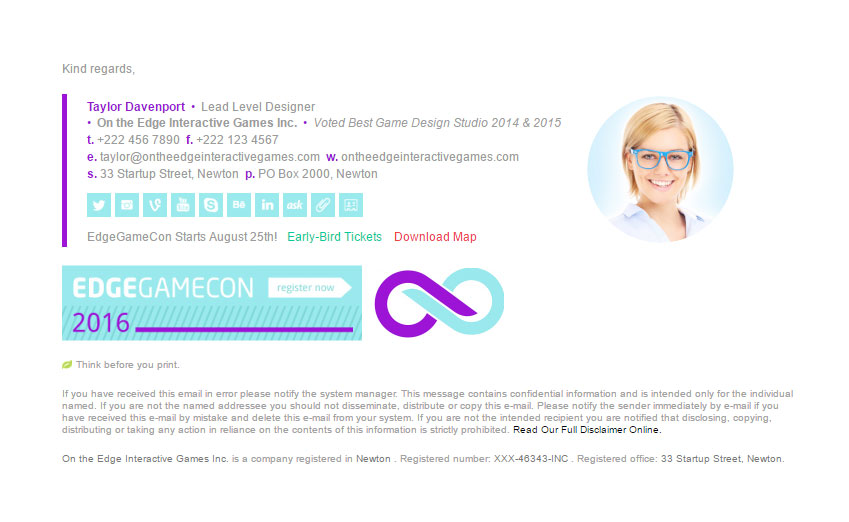 Html email signature template for Company email signature templates